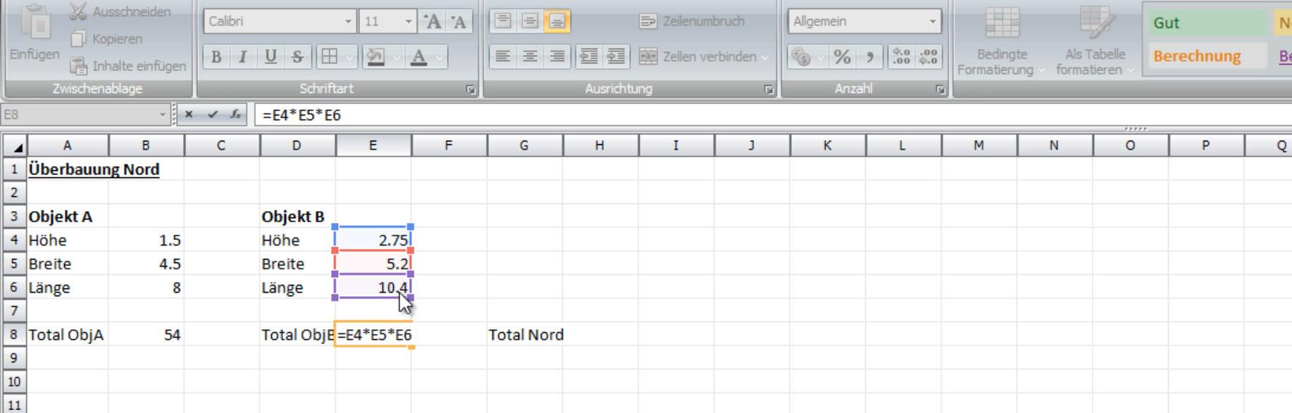 Excel-Ausmass Bild 2