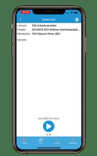 Zeit App StartStopp modus